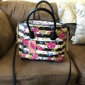 Betsey Johnson Satchel With Butterflies & Roses